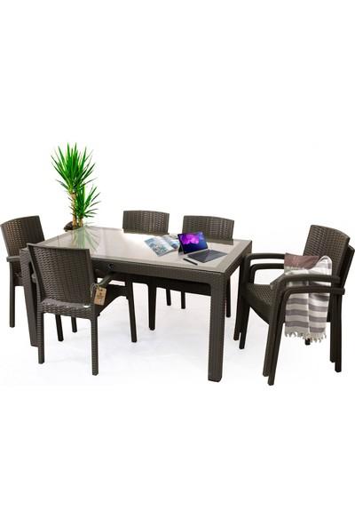 Bahex Violet 6 Kişilik 90X150 Camlı Rattan Desenli Masa Takımı 4 Renk Seçeneği