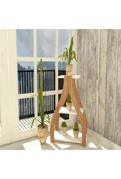 Bitirdin Orkide Çiçeklik Özel Tasarım Saksılık Çiçeklik Saksı Standı Beyaz Üst & Ceviz Ayak