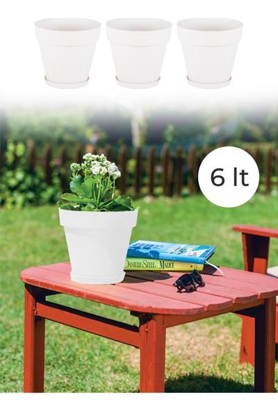 Nandy Home Dekoratif Tasarım 6 Lt Yalı Saksı 3 Adet Beyaz