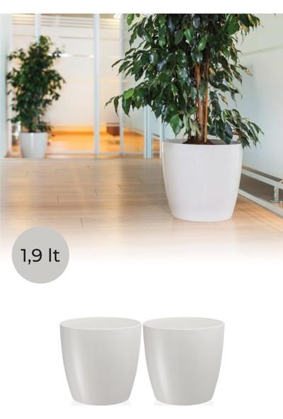 Nandy Home Dekoratif Tasarım 1,9 Lt Yakut Saksı 2 Adet Beyaz