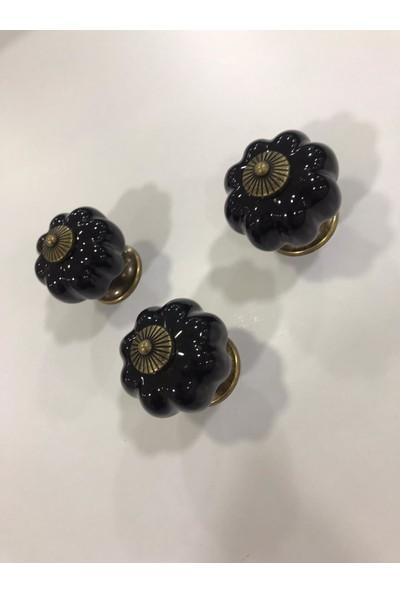Tomurcuk 3 Adet Gerçek Porselen Mobilya Kulbu Siyah Antik Sarı Tek Delik