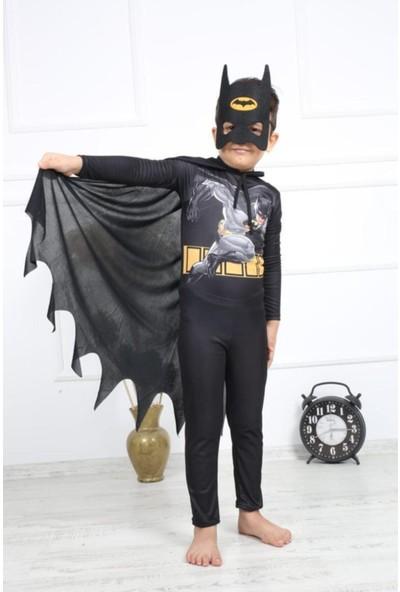 Buda Bizde Batman Kostüm Pelerinli Batman Çocuk Kostümü Baskılı Model