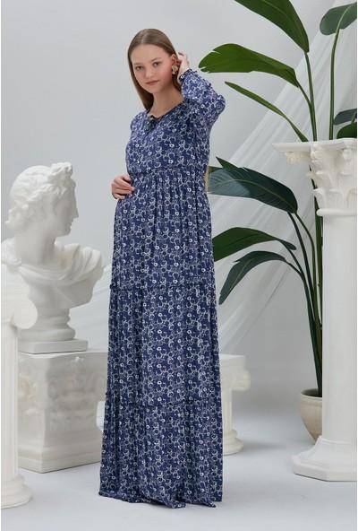 Görsin Hamile Görsin Yaka Detaylı Hamile Uzun Elbise