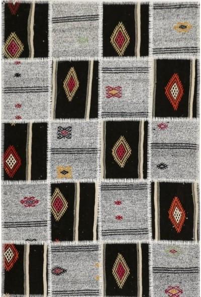 Madalyon Patchwork El Dokuma Antik Anadolu Kilim Kendir Tac Mahal
