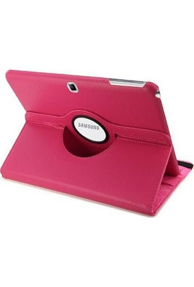 Redpoloshop Samsung Galaxy Tab 4 10,1 T530 T532 Kılıf 360 Dönerli Standlı Temperli Cam Koruyucu Dahil Fuşya
