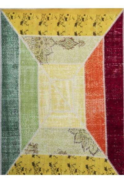 Madalyon Patchwork El Dokuma Antik Anadolu Halısı Rainbow