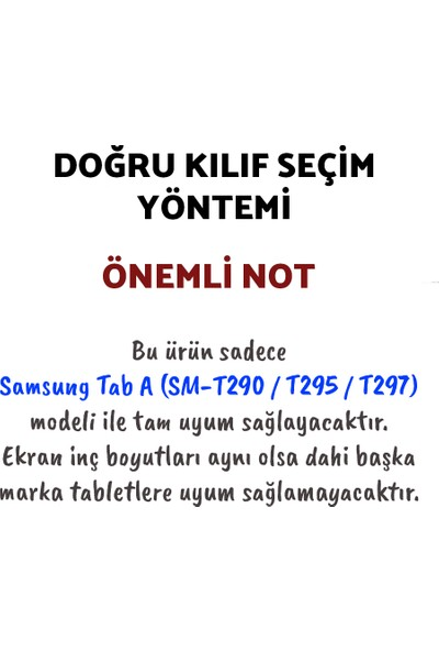 Wowlett Samsung Galaxy Tab A Uyumlu 8.0 Inç (SM-T290-T295-T297) 360 Derece Dönebilen Tablet Kılıfı