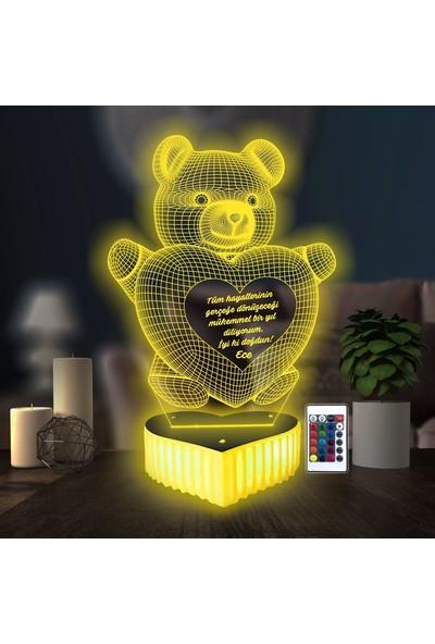 3D Hediye Dünyası Ayıcıklı Lamba Sevgilime Ayıcık Hediyesi Doğum Günü Hediyesi 16 Renkli Kumandalı