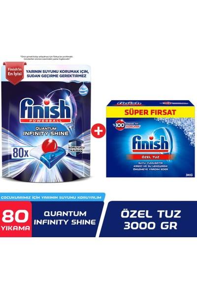 Finish Quantum Infinity Shine 80 Kapsül Bulaşık Makinesi Deterjanı Tableti + Bulaşık Makinesi Tuzu 3000 gr