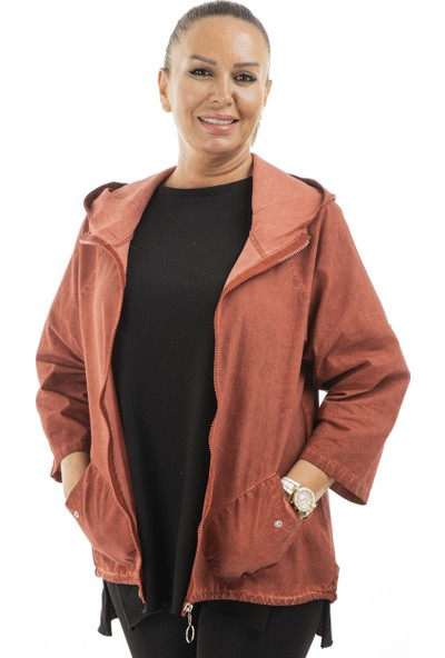 Garba Donna Kadın Kapşonlu Fermuarlı Mevsimlik Ceket - Kiremit