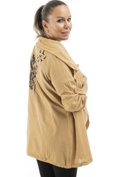 Garba Donna Kadın Keten Ceket - Sütlü Kahve