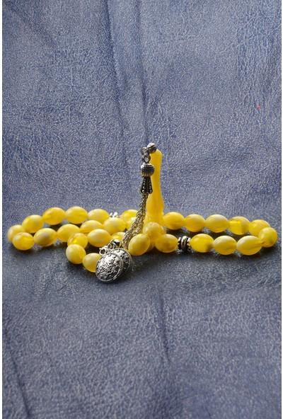 In Dubai Silver Sarı Lekeli Toz Kehribar Taşlı Tesbih DBSE6055