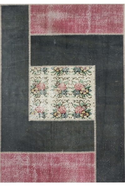 Madalyon Patchwork El Dokuma Antik Anadolu Halısı Flower Window