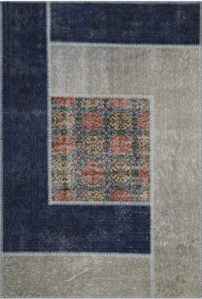 Madalyon Patchwork El Dokuma Antik Anadolu Halısı Blue Window