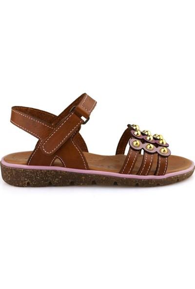 Cici Bebe Taba Deri Kız Çocuk Sandalet 100740KF-TB-DR