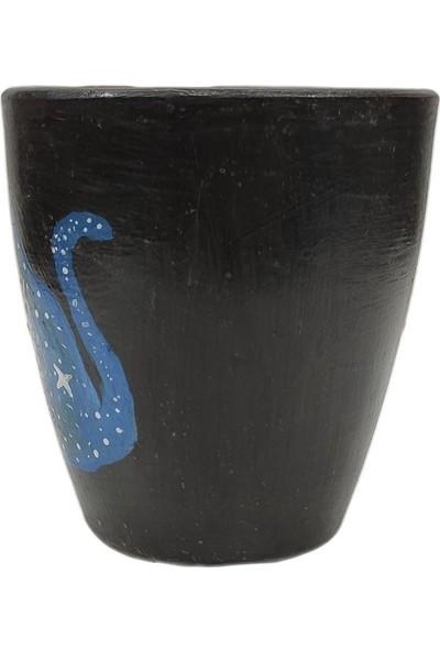 Mogan Çömlekçilik Toprak El Yapımı Siyah Zemine Kedi Figürlü Bardak
