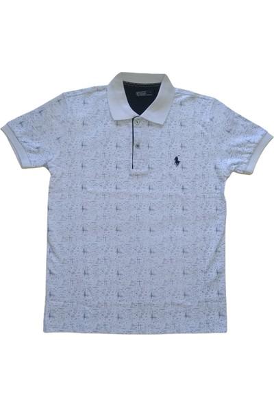 Erkek Polo Yakalı Düğmeli Desenli Beyaz Kısa Kollu Pamuklu Tişört Etp-Plöd