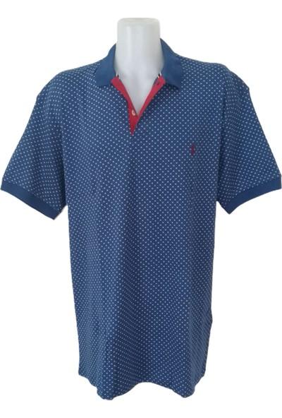 Erkek Büyük Beden Mavi Desenli Polo Yakalı Düğmeli Kısa Kollu Tişört Etp-Plw4