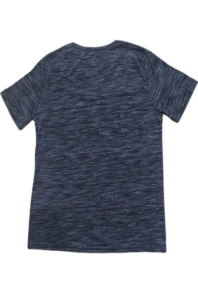 Erkek Antrasit V Yakalı Kısa Kollu Kırçıllı Pamuklu Tişört Etv-Bs