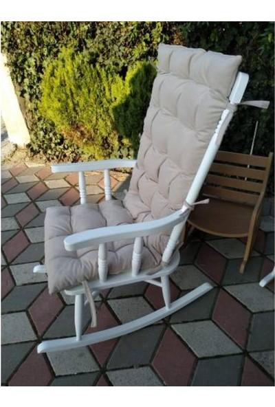 Zerka Rengin Lake Beyaz Sallanan Sandalye & Tv Koltuğu Minderli