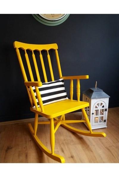Zerka Rengin Sarı Sallanan Sandalye & Tv Koltuğu Minderli