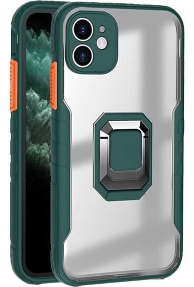Coverzone iPhone 12 Mini Renkli Kenarlı Smooth Arka Kapak Panzer Koyu Yeşil