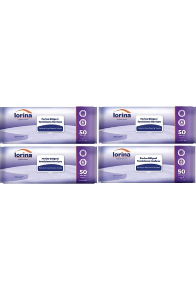 Lorina Extra Geniş Perine Bölgesi Temizleme Havlusu 50'li 4 Paket