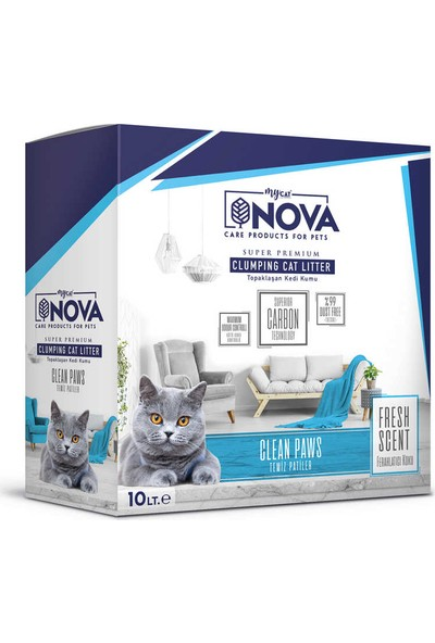 Nova Nova Ferahlatıcı Koku ( Temiz Patiler) Premium Kedi Kumu 10LT
