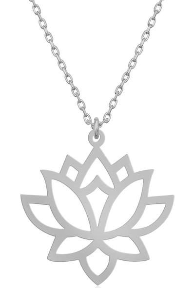 Dzg Silver Gümüş Lotus Çiçeği Kolye Gümüş Kolye DN432A