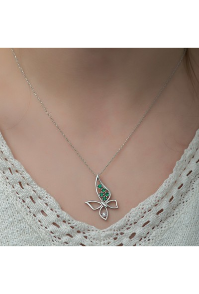 Dzg Silver Gümüş Kelebek Kolye Kadın Gümüş Kolye DN534A