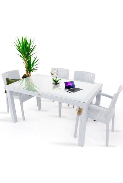 Bahex Violet Rattan Desenli 4 Kişilik 90X150 Camlı Bahçe Takımı