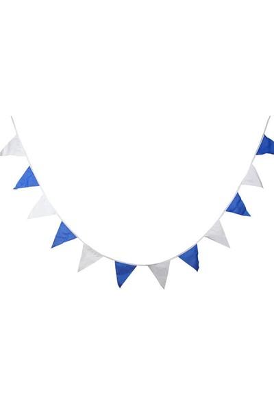 Arentek 25 Metre Üçgen Flama Bayrak - Süsleme Bayrağı - Mavi-Beyaz Renkli