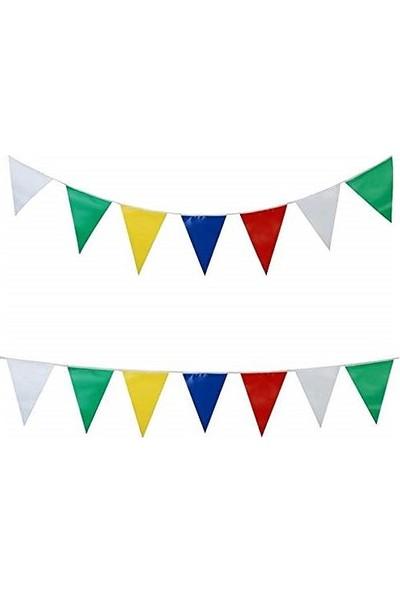 Arentek 25 Metre Üçgen Flama - Bayrak Süsleme - Bayrak Karışık Renkli