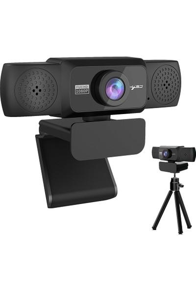 Hxsj S5 HD 1080P Bilgisayar Kamerası Dahili 8m Ses Siyah (Yurt Dışından)