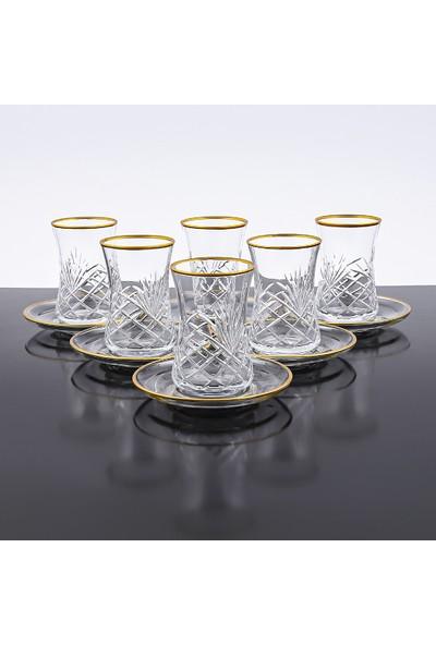 Sanat Desenli Kesme El Yapımı 12 Parça 6 Kişilik Çay Bardağı Seti