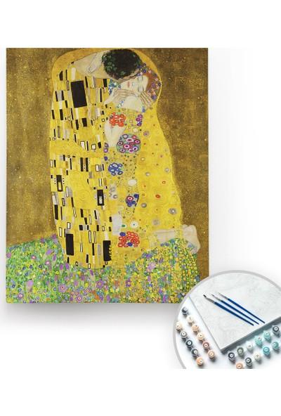 Bir Kutu Sanat Gustav Klimt, The Kiss - Tuval Üzerine Sayılarla Boyama Kasnaklı 40 x 50 cm