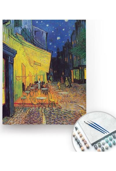 Bir Kutu Sanat Van Gogh, Cafe Terrace At Night - Tuval Üzerine Sayılarla Boyama Kasnaklı 40 x 50 cm
