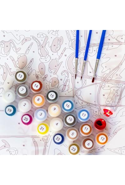 Bir Kutu Sanat Akdeniz Sahili - Tuval Üzerine Sayılarla Boyama Kasnaklı 40 x 50 cm