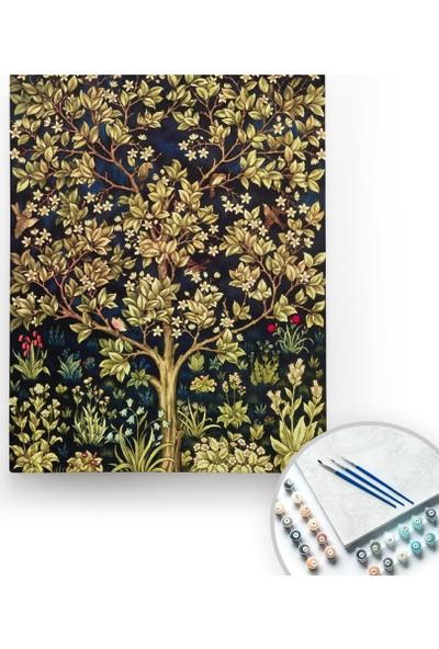Bir Kutu Sanat William Morris, Tree Of Life - Tuval Üzerine Sayılarla Boyama Kasnaklı 40 x 50 cm