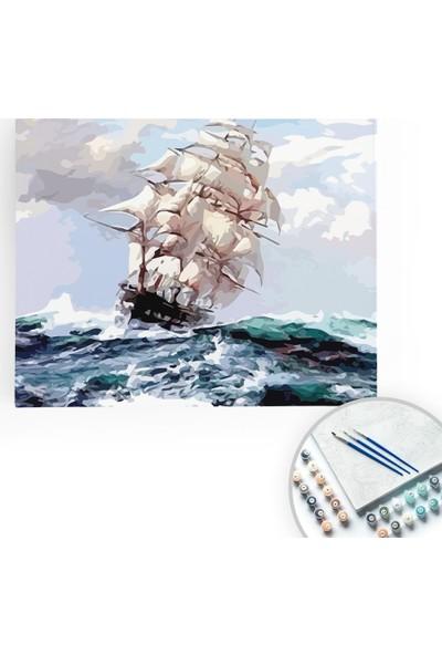 Bir Kutu Sanat Majestik - Tuval Üzerine Sayılarla Boyama Kasnaklı 40 x 50 cm