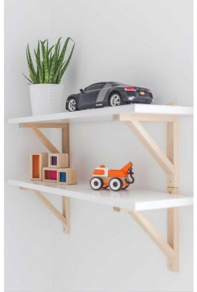 Gör Seç Ahşap Ayaklı Duvar Raf Kitaplık Montessori Eğitici Dekoratif Tekli