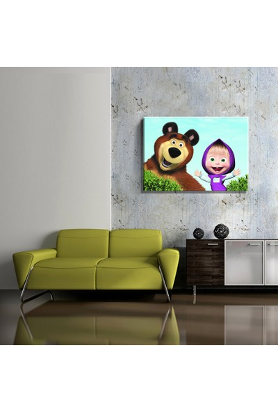 Mağazacım Çocuk Odası Maşa ile Koca Ayı (35X50CM) Kanvas Tablo TBL1453