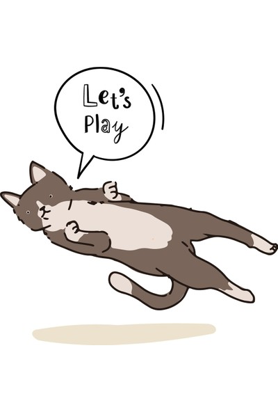 Mağazacım Çocuk Odası Let's Play Temalı Sevimli Kedi (40X40 Cm) Kanvas Tablo TBL1526
