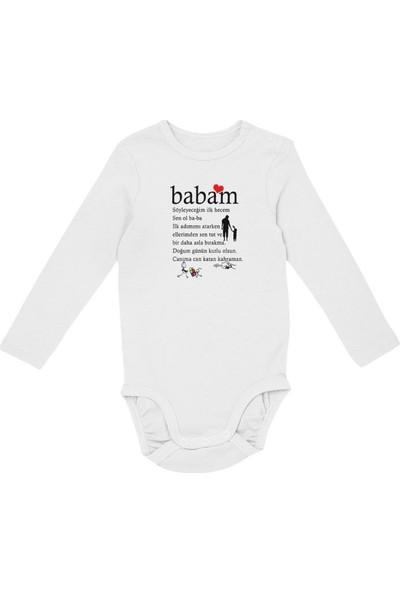 Angemiel Baby Baba Doğum Günün Kutlu Olsun Erkek Bebek Uzun Kollu Zıbın Beyaz