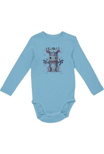 Angemiel Baby Cool Su Aygırı Erkek Bebek Uzun Kollu Zıbın Mavi