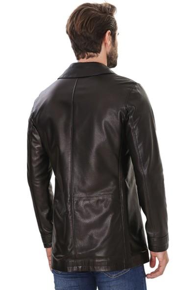 Franko Armondi Erkek Gerçek Deri Klasik Ceket Siyah U-966-18286 Fa4