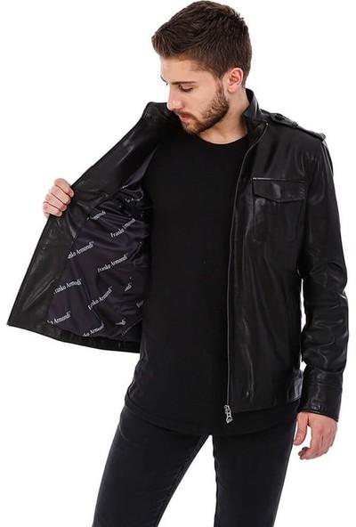 Franko Armondi Erkek Gerçek Deri Klasik Ceket Siyah ER-378-20198 Fa5