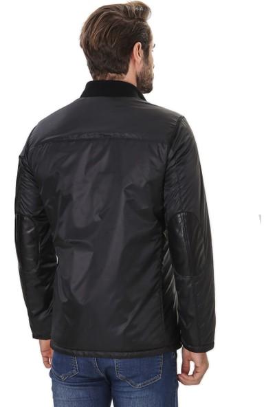Franko Armondi Erkek Gerçek Deri ve Su Geçirmez Kumaş Klasik Ceket Siyah K-1554-19917 Fa4