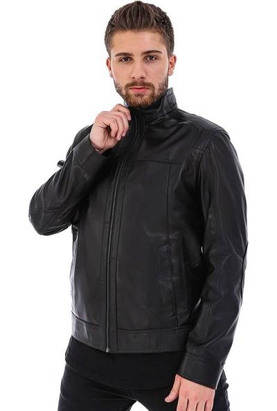 Franko Armondi Erkek Gerçek Deri Klasik Ceket Siyah K-133-20203 Fa5