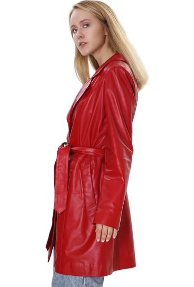 Franko Armondi Kadın Gerçek Deri Klasik Kaban Kırmızı B-590-19955 Fa4